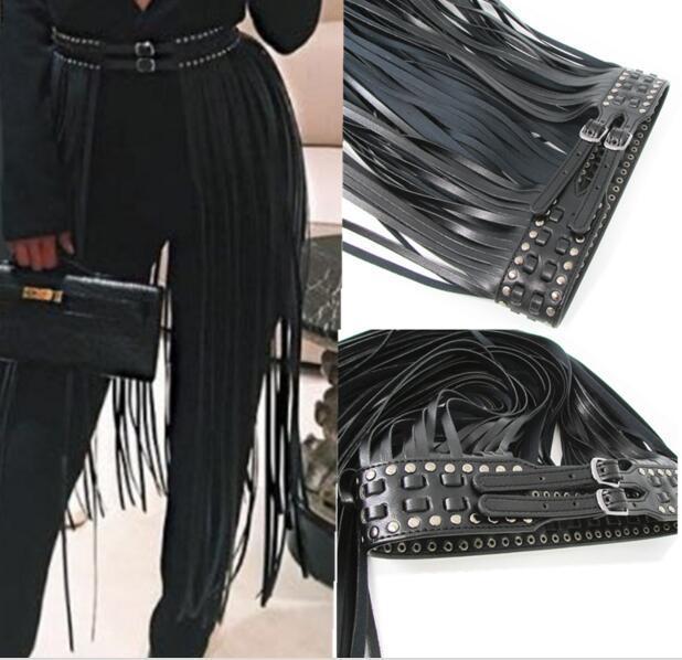 Hot Sexy Long Fringe Belt Faux leather belts for women Celebrity Ceinture Femme Tassels Buckle lucci belt extravagant accessorie
