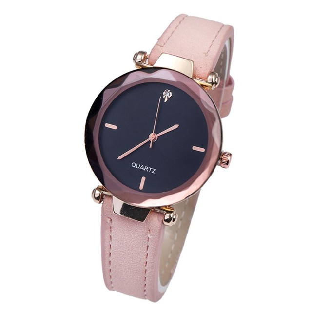 Delicate Fashion Women Watches Rose Gold Ladies Dress Small Dial Leather Band Qu