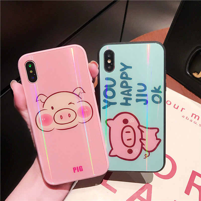 Cute Pink Pig Laser Colorful Toughened Glass Case For iPhone Xs XR Xs Max  Case For ed6b47e462ed