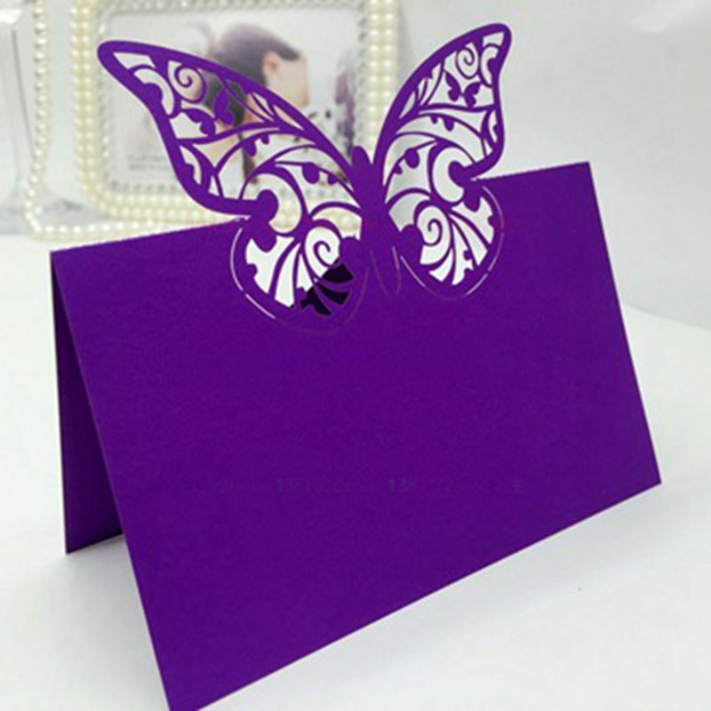 100pcs Purple Butterfly Laser Cut Wedding Party Table Name Place Cards Wedding Decoration Wedding Favors Gifts Party Supplies 100pcs purple butterfly laser cut wedding party table name place cards table decoration wedding favors and gifts party supplies