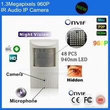 H264 1,3-мегапиксельной камерой 960 P микрофон ик ночного видения IP скрыть пир детектор движения камеры Onvif P2P подключи и играть сетевая камера