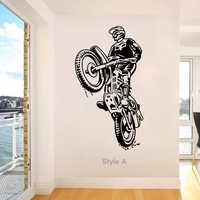 Наклейка на стену для мотокросса, виниловая, сделай сам, домашний декор, мотоциклетный проигрыватель, Наклейки на стены, спортивный мотоцик...