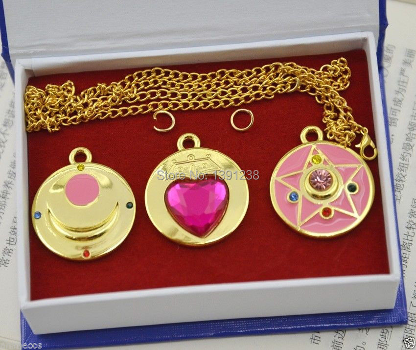New in Box Sailor Moon Necklace Pendant Chain Cosplay Porp 3PCS