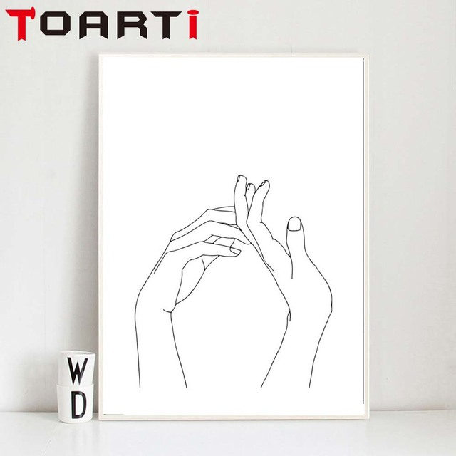 one line drawing hands sketches minimalist art canvas poster