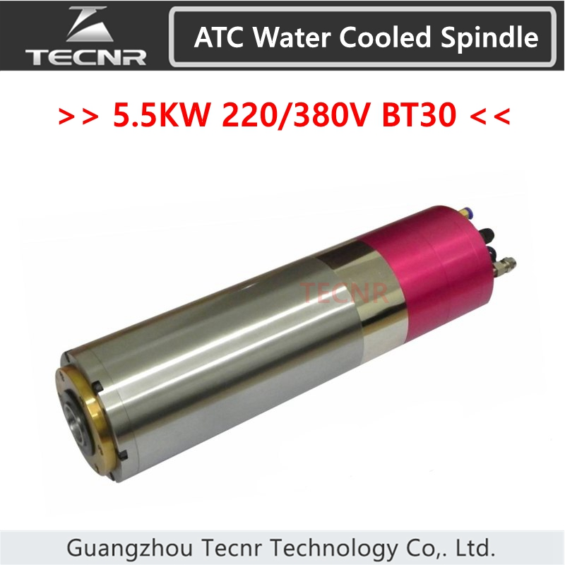 TECNR 5.5KW ATC water cooled spindle motor 18000RPM BT30 220V 380V Automatic Tool Change spindle for mental cutting