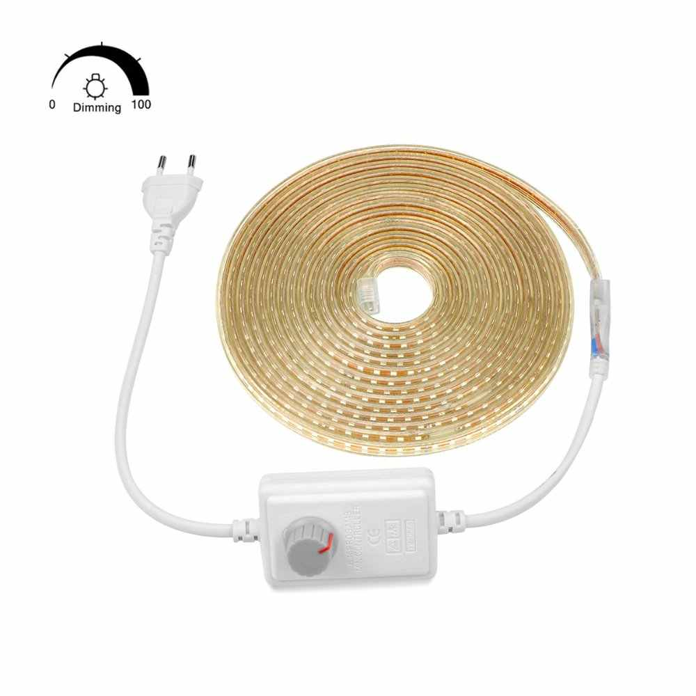 Aimengte Super Terang SMD2835 Dimmable 220V LED Strip Light 1 M/5 M/10 M/15 m/20 M/25 M Dapur Rumah Lampu Taman Tape dengan Uni Eropa Plug