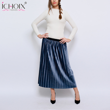 2019 Women Skirts Autumn Winter Suede High Waist Velvet Long Pleated Skirt Elastic Vintage Saias Female