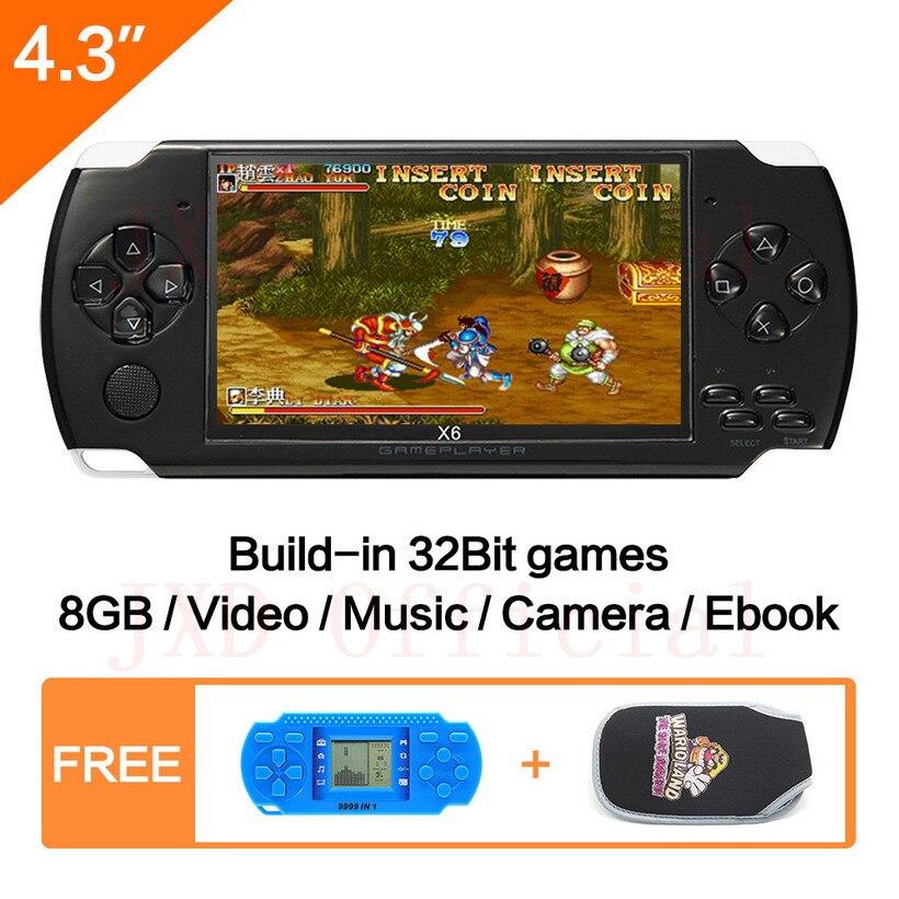 Envío Gratis 4,3 Pulgadas Consola De Juegos Portátil 8GB Mp4 Mp5 Función De Video Juego Construido En 1200 + Juegos Para Gba /gbc/snes/fc/smd