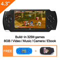 Free Shipping 4.3 Inch Handheld Game Console 8GB Mp4 Mp5 Function Video Game Built In 1200 Games For Gba/gbc/snes/fc/smd