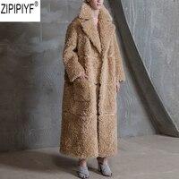 High Quality 2018 New Winter Wool Overcoat Warm Outerwear Women Faux Fur Teddy Coat Turn Down Collar Long Sleeve Outwear C2346