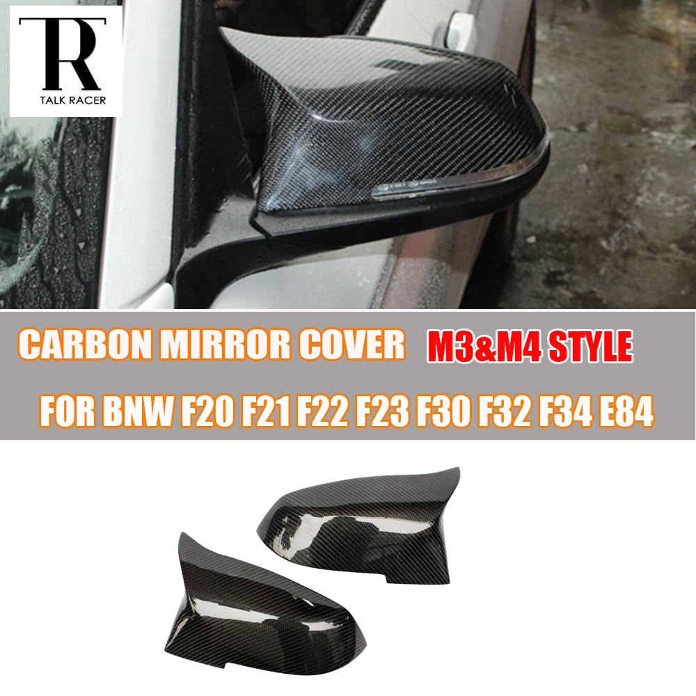 ФОТО M3 & M4 Style Carbon Fiber Rear View Side Mirror Cover Cap for BMW 1 2 3 4 X Series F20 F21 F22 F23 F30 F34 F36 E84 X1 12 - 16