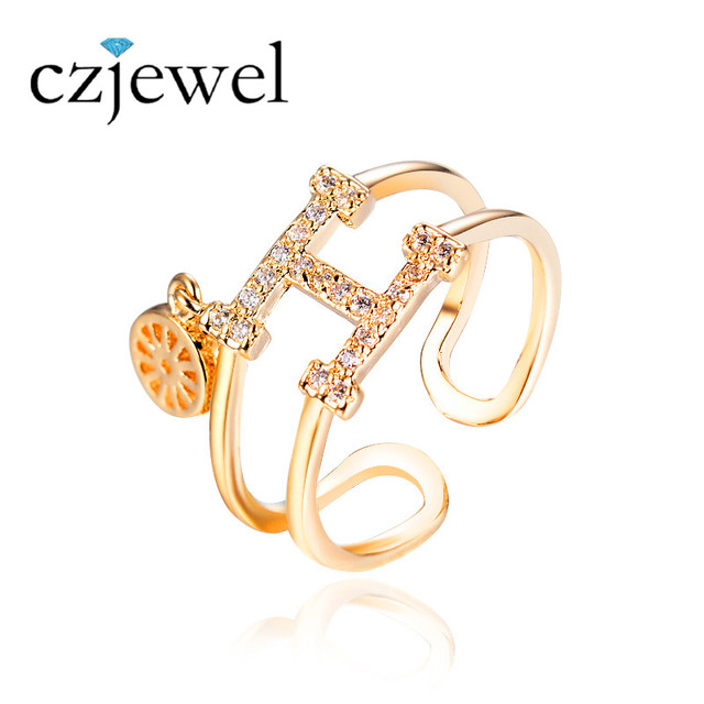 Unique Brand Design Gold H Word Rings For Women With AAA Cubic Zirconia  Trend Rings Jewelry