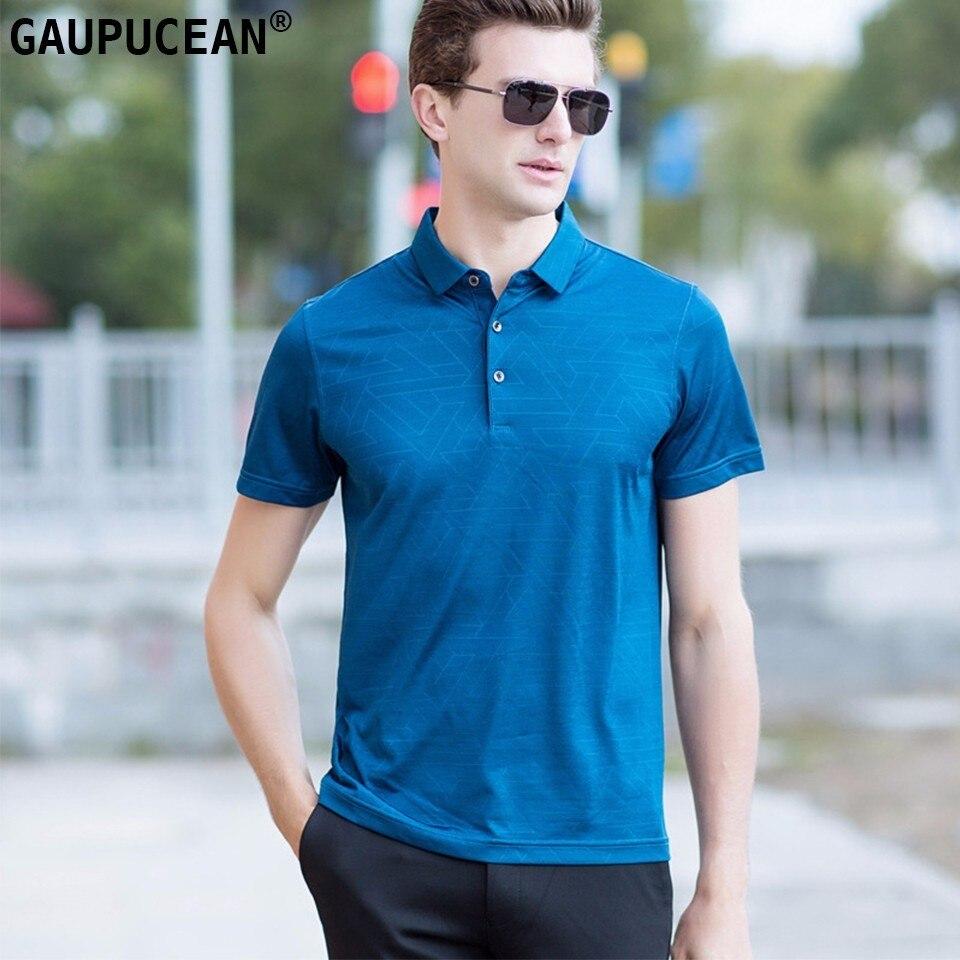 Hommes Polo Coton Lyocell Naturel Slik À Manches Courtes Rouge bleu Mode Casual D'été Cool De Luxe Mâle Plaid Homme Polos chemises