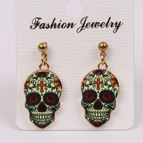 Aliexpress.com   Buy Enamel black white Retro whimsical sugar skull Punk  style rhinestone skull head earrings for women Halloween party jewelry from  ... 23bafa3e9ca7