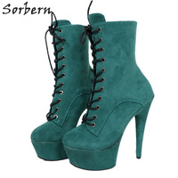 Sorbern 15Cm Ankle High Boots For Women Short Booties Ladies Custom Colors Platform Boots Pole Dance High Heel Shoes New