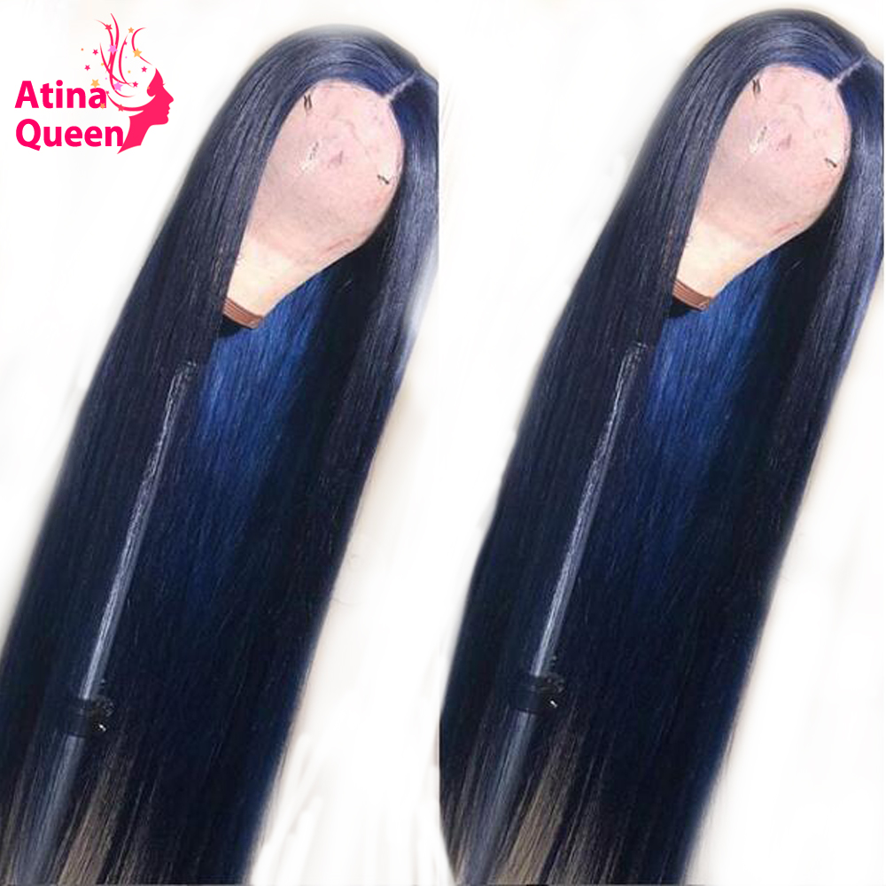 Colored Blue Lace Front Human Hair Wigs With Baby Hair Preplucked 13x6 Deep Part Brazilian Remy 150% Lace Front For Black Women