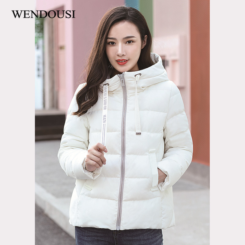 WENDOUSI New Women Down Jacket Hooded Autumn Winter Fashion Duck Down Jackets Women Parka Zipper Coats Plus Size XXXL XY501