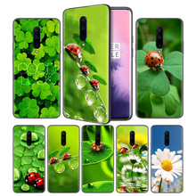 four leaf ladybug daisy Soft Black Silicone Case Cover for OnePlus 6 6T 7 Pro 5G Ultra-thin TPU Phone Back Protective Coque Capa