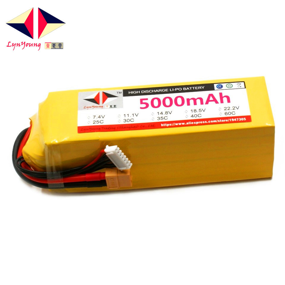 LYNYOUNG <font><b>Lipo</b></font> Battery <font><b>6s</b></font> 22.2V <font><b>5000mAh</b></font> 40C MAX 80C for RC Airplane Drone quadcopter helicopter toy image