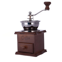 Manual Coffee Grinder Stainless Steel Retro Coffee Spice Mini Burr Mill With High-quality Ceramic Millstone Classical Wooden