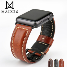 MAIKES Watch Accessories Genuine Leather Strap For Apple Band 44mm 40mm 42mm 38mm Bracelet iWatch