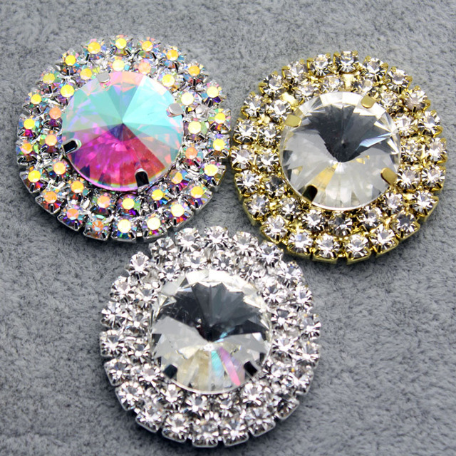 9pcs lot mixed Color Crystal AB Rhinestone Buttons for Sew on Garments e775d4abd9d7