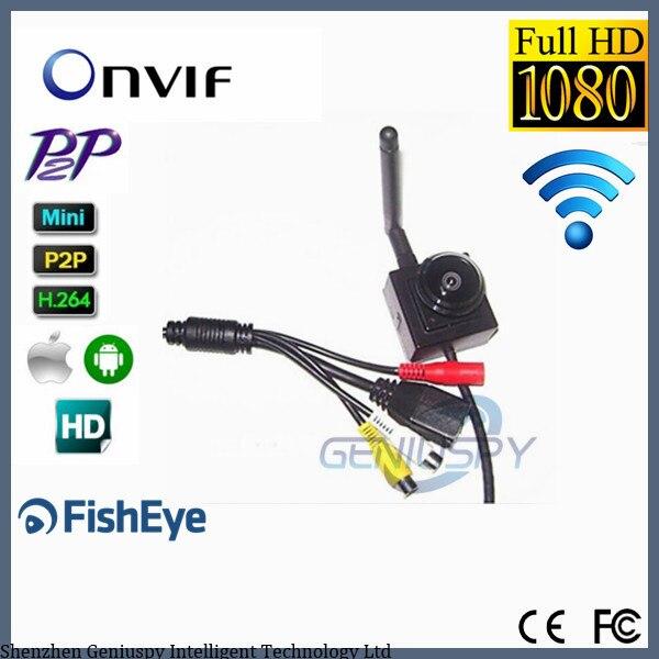 2.0 MP Caméra Ip Wifi 1.78mm Fisheye Lentille Onvif 1080 p Mini Sans Fil Intérieur Plus Petit Wifi Ip Caméra Réseau entrée et Sortie Audio