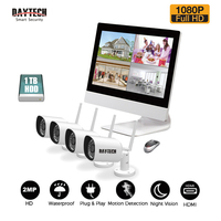 DAYTECH Surveillance System NVR Kit 1080P 2MP LCD Monitor NVR Kit HDD IR Night Vision Waterproof
