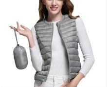 2017 women's 90% white duck down vest female ultra light duck down vest jacket autumn-winter round neckline sleeveless coat