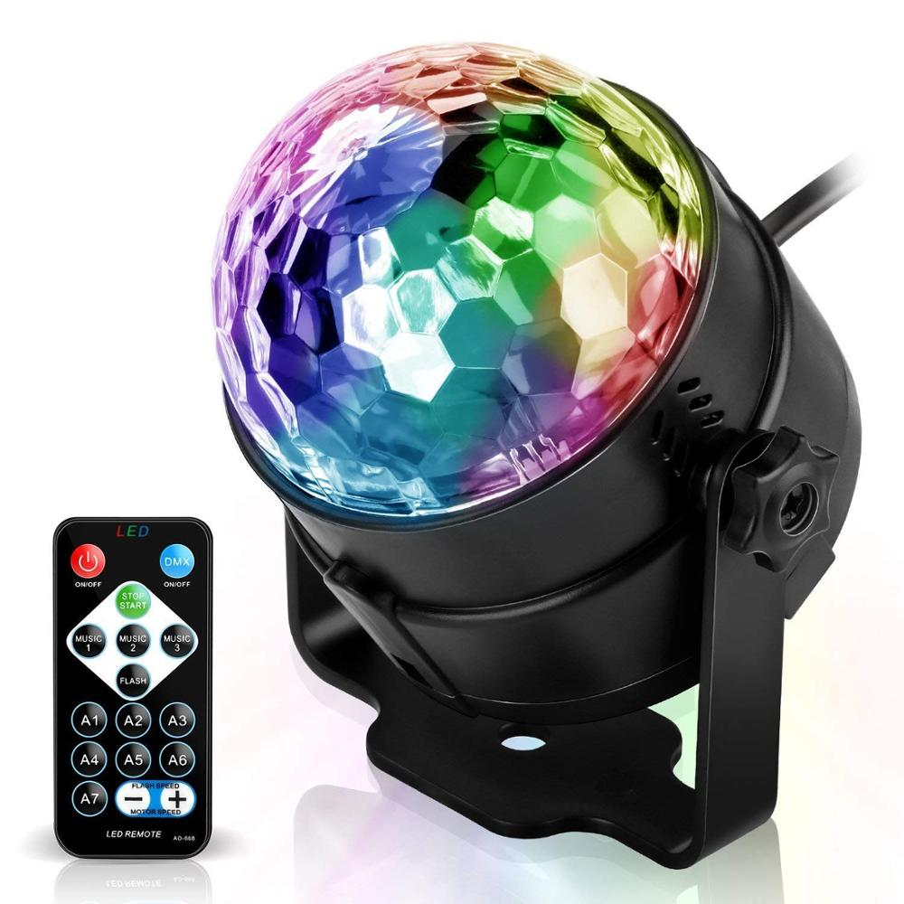 3W 7 Colors Strobe Stage Light DJ Disco Ball Lights Remote Control Sound Activated Party Lights For Xmas Party Pub Wedding Club