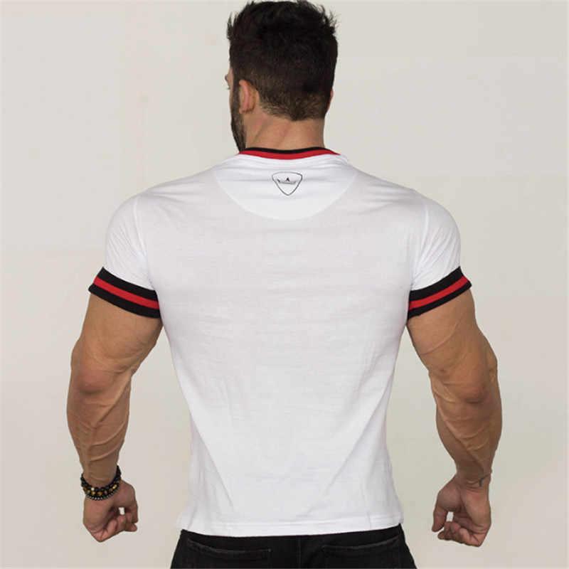 YEMEKE облегающие футболки для мужчин, лоскутные футболки, компрессионная рубашка, топы для бодибилдинга, фитнеса, с круглым вырезом, футболка с коротким рукавом