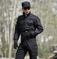 Alta calidad Negro Uniforme de entrenamiento Ropa uniforme militar Marca de los aficionados militares Tácticos trajes, Chaqueta + Pantalones