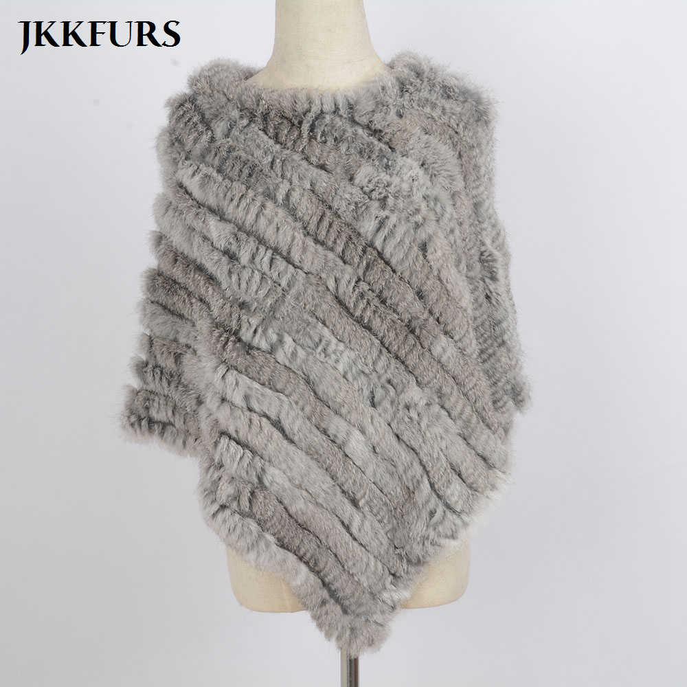 女性のニットポンチョ本物のウサギの毛皮ファッションスタイル冬秋暖かい毛皮のショール女性トップ品質岬 S1071S