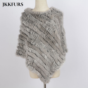 Image 4 - Womens Knitted Poncho Real Rabbit Fur Fashion Style Winter Autumn Warm Fur Shawl Ladies Top Quality Cape S1071S