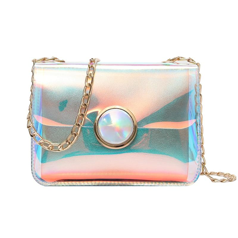 Female Holographic Clear Bag Transparent PVC Pearly Luster Women shoulder Bag Laser holo ...