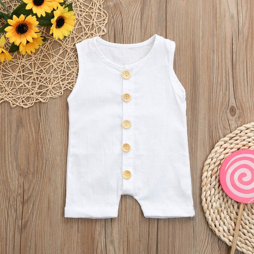 2018 summer O-Neck Jumpsuit Toddler Newborn Baby boy Sleeveless Solid white Jumpsuit Romper Outfits Cute kids baby clothes 3pcs set newborn infant baby boy girl clothes 2017 summer short sleeve leopard floral romper bodysuit headband shoes outfits