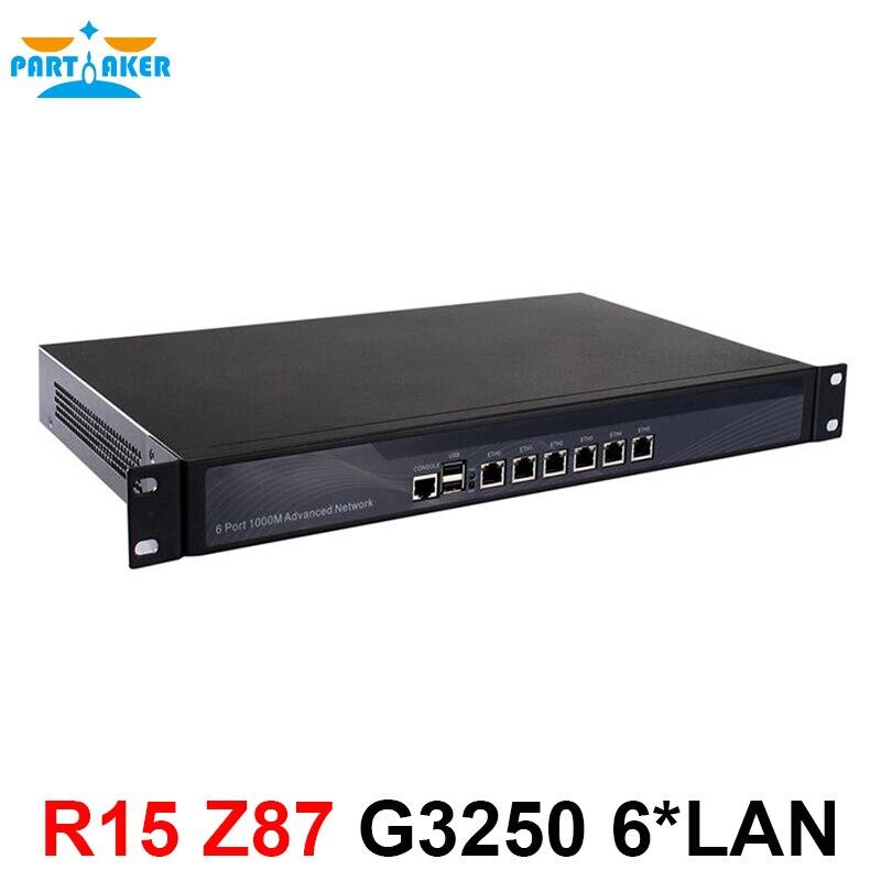 Z87 Routeur OS 1U Appareil Pare-Feu avec 6 ports Gigabit lan Intel Pentium G3250 3.2 ghz 2g RAM 8g SSD Mikrotik PFSense ROS etc