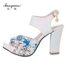 Fanyuan Chunky Heels Women Sandals Elegant Printed Summer Women Shoes Fashion Open Toe Ladies Platform Sandal Heels Black Red fanyuan new ladies shoes women sandals summer open toe sweet flower fashion platform high heels wedge sandals female shoes