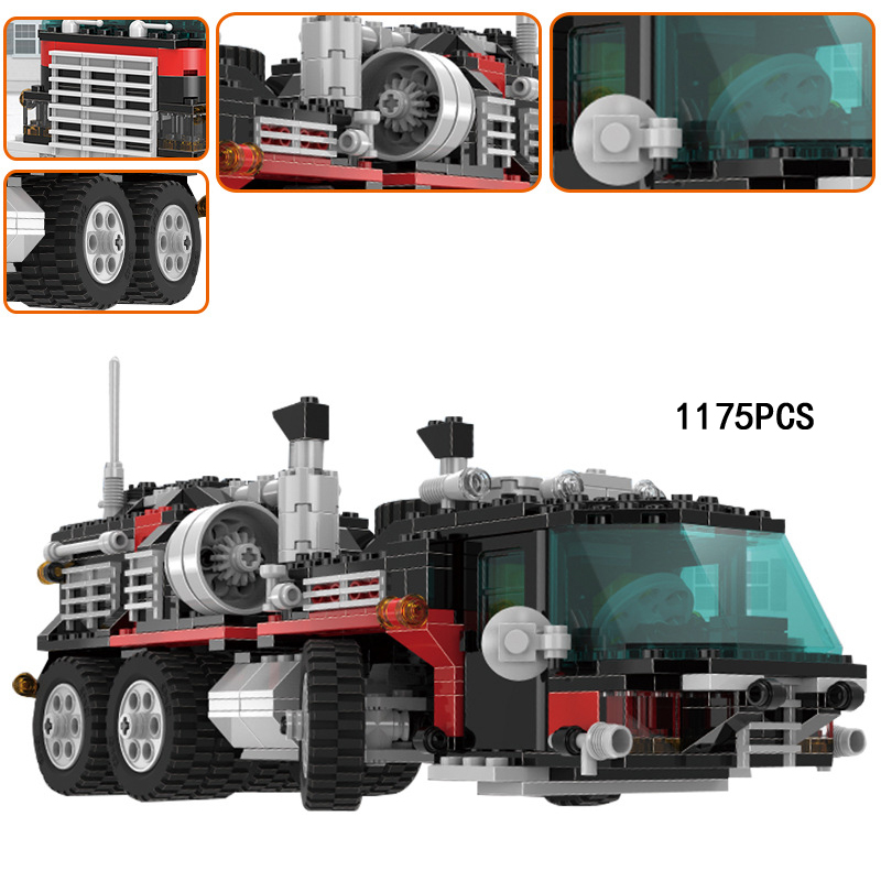 Hot Classic City Super Truck Head Trailer and Helicopter Building Block Model Bricks Toys Collection for Lepins Children Gifts wange city fire emergency truck action model building block sets bricks 567pcs classic educational toys gifts for children