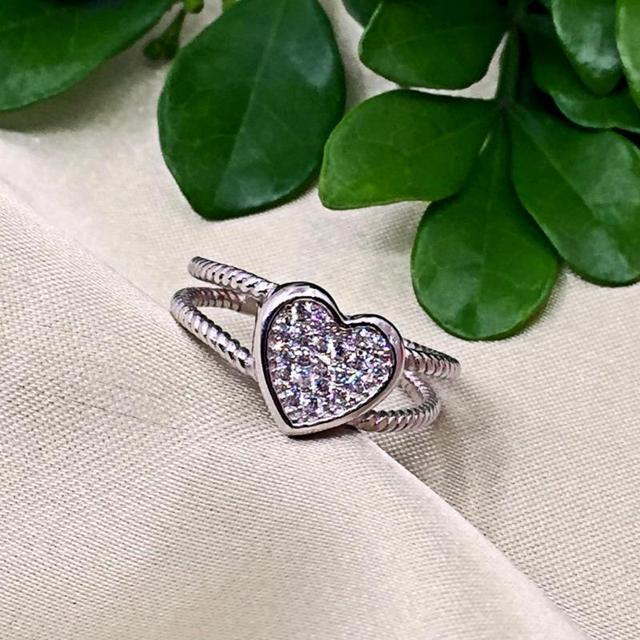925 Sterling Silver Love Heart White Gold Color 3