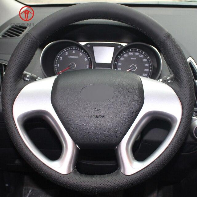 LQTENLEO черная искусственная кожа ручная прошитая крышка рулевого колеса автомобиля для hyundai ix35 Tucson 2 2011-2015