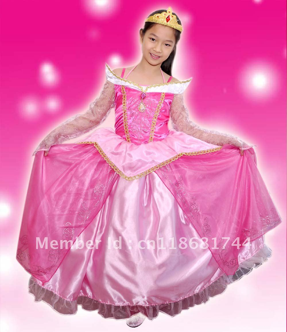 Pink Luxury Sleeping Beauty Princess Costume Fancy Dress Up Pink Kids  Costume Holliday Gift Party Dress Birthday Dress Up