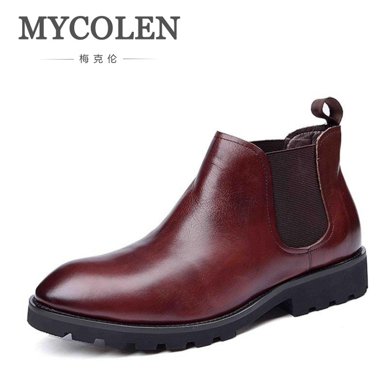 MYCOLEN Fashion Boots Men Casual Round Toe Autumn Mens Chelsea Boots Slip On Men Ankle Boots Low Heel Black Non-slip Men's Shoes new fashion men luxury brand casual shoes men non slip breathable genuine leather casual shoes ankle boots zapatos hombre 3s88