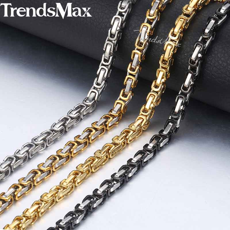 "5mm Bizantino Box Link Chain Necklace For Men Acero inoxidable Cadena de Acero Oro Plata Negro Moda Hombres Joyería Al Por Mayor 18-36 ""KNN24"