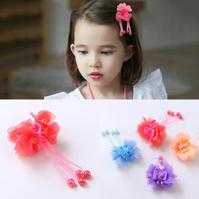 Fashion Girls New Colorful Pink Red Flowers Ribbon Hair Claw Headband Kid  Hair Clip Hair Ornament Gift Children Hair Accessories 06f82629d76