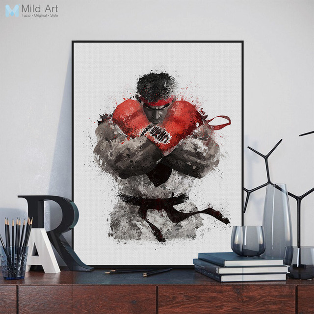 Watercolor modern pop games street fighter boxing canvas a4 art print poster wall pictures boy room