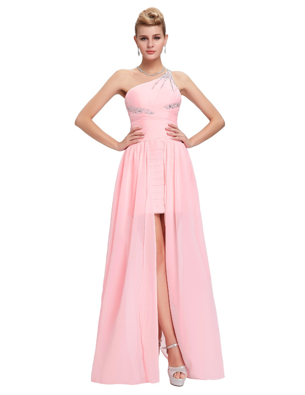 Light Pink Bridesmaid Dresses Grace Karin Beaded Chiffon One Shoulder Formal Gowns Short Front Long Back Wedding Party Dresses 6