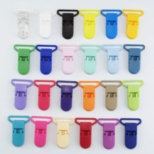Free Shipping 200pcs 25MM Sutoyuen D shape Baby Plastic Pacifier Clips Plastic Clamp Soother Suspender Dummy Holder Clip