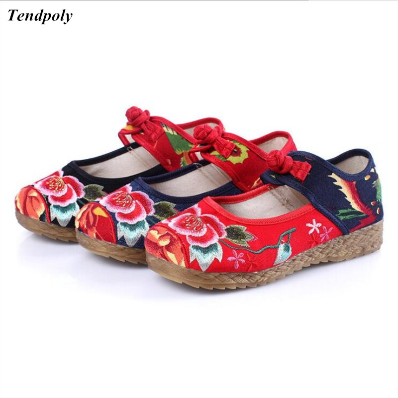 2018 New Chinese folk style old Beijing Retro cloth shoes size (35-40) comfort buckle retro casual cotton Casual Women's shoes size 34 41 fashion shoes woman old beijing mary jane flats casual chinese style peony flower embroidered cloth canvas shoes