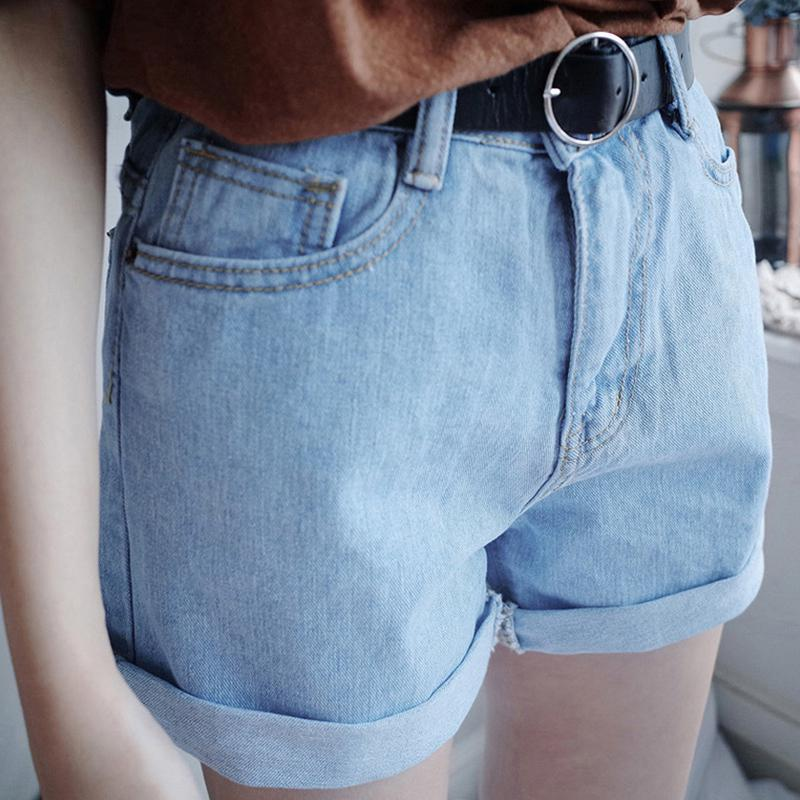 Summer   Shorts   Solid Color Loose Roll Edge High Waist Denim   Shorts   Women Clothes Casual Sweet   Short   Jeans   Short